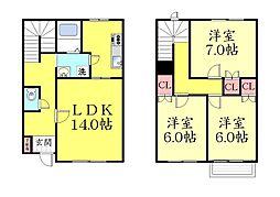 [タウンハウス] 兵庫県神戸市灘区五毛通3丁目 の賃貸【/】の間取り