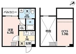 名鉄名古屋本線 東枇杷島駅 徒歩10分の賃貸アパート 1階1SKの間取り