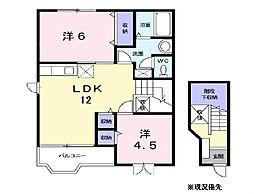 神奈川県横浜市都筑区勝田南2丁目の賃貸アパートの間取り