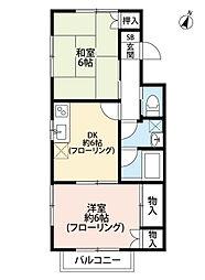 福岡県北九州市八幡西区本城東3丁目の賃貸アパートの間取り