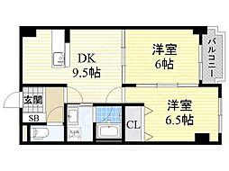 北大阪急行電鉄 桃山台駅 徒歩8分の賃貸マンション 5階2DKの間取り