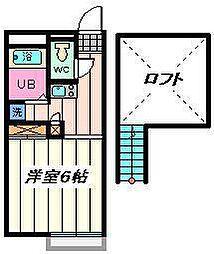埼玉県草加市神明1丁目の賃貸アパートの間取り