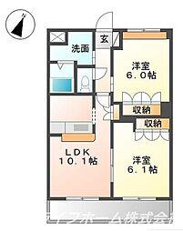 徳島県徳島市中島田町2の賃貸アパートの間取り