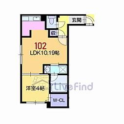 札幌市営東西線 菊水駅 徒歩7分の賃貸マンション 1階1LDKの間取り