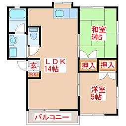 サンハイツ蔵王[1階]の間取り