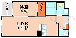JR篠栗線 門松駅 徒歩15分の賃貸マンション 3階1LDKの間取り