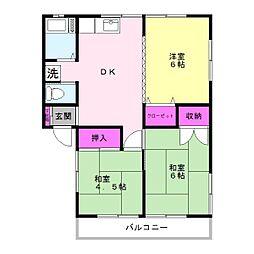 コーポ森庄B[2階]の間取り