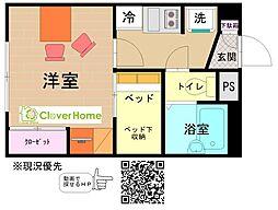 神奈川県横浜市緑区新治町の賃貸アパートの間取り