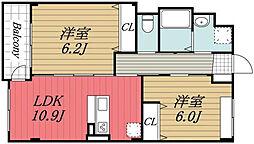 JR内房線 五井駅 徒歩10分の賃貸マンション 2階2LDKの間取り