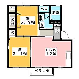 シェモワ大崎 B[2階]の間取り