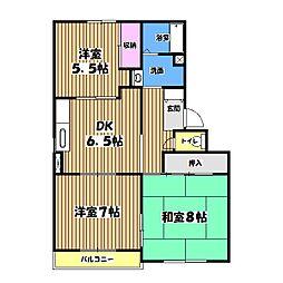 東京都青梅市新町9の賃貸マンションの間取り