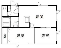 マンション虹 2階2LDKの間取り
