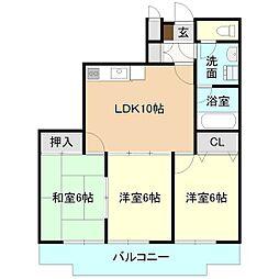 DESEO竹園[4階]の間取り