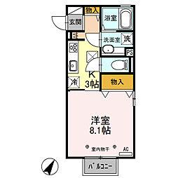 栃木県栃木市平井町の賃貸アパートの間取り