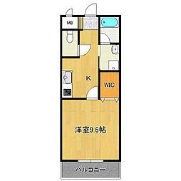 茨城県つくば市松野木の賃貸マンションの間取り