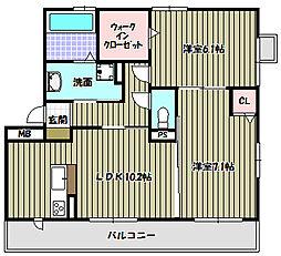 ボアソルテS A棟[3階]の間取り