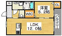 大阪府堺市北区新堀町1丁の賃貸アパートの間取り