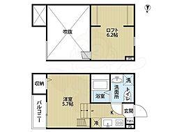 南海高野線 萩原天神駅 徒歩3分の賃貸アパート 1階ワンルームの間取り