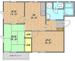 茨城県笠間市笠間の賃貸アパートの間取り