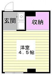 西武池袋線 椎名町駅 徒歩8分の賃貸マンション 3階ワンルームの間取り