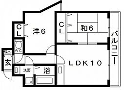 シャルム鶴ヶ丘[2階]の間取り