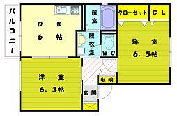フルールS[2階]の間取り