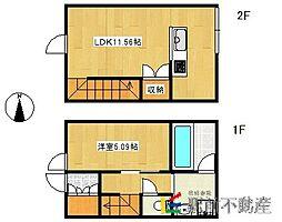 JR久大本線 久留米高校前駅 徒歩15分の賃貸アパート 2階1LDKの間取り