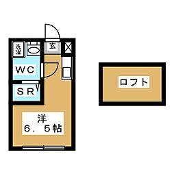ハーモニーテラス松島 1階ワンルームの間取り