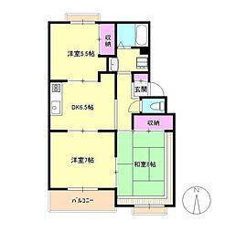 東京都青梅市新町9丁目の賃貸マンションの間取り