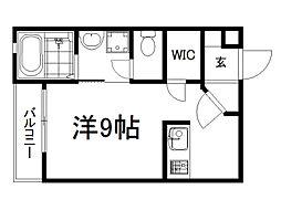 THE GARNET SUITE RESIDENCE龍谷大前 4階ワンルームの間取り