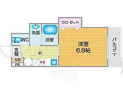 Osaka Metro四つ橋線 北加賀屋駅 徒歩9分の賃貸マンション 2階1Kの間取り
