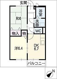 エステートKakeda B[1階]の間取り