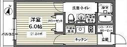 ベルメント東逆井[102号室号室]の間取り