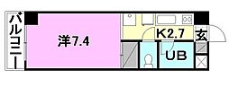 オクトワール松山土居田西館[208 号室号室]の間取り
