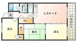アーバンハイム守口 2階3LDKの間取り