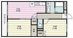 千代田サンライズマンションB 2階2LDKの間取り
