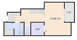 広島電鉄宮島線 楽々園駅 徒歩15分の賃貸アパート 1階1Kの間取り