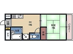 YKマンション 2階1DKの間取り