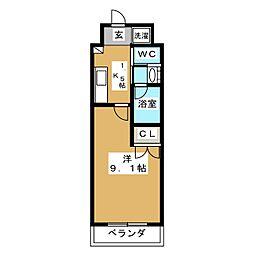 フジマンションコスモ 3階1Kの間取り
