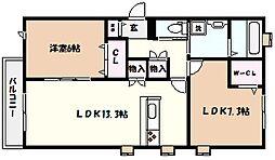 阪急神戸本線 芦屋川駅 徒歩9分の賃貸マンション 1階2LDKの間取り
