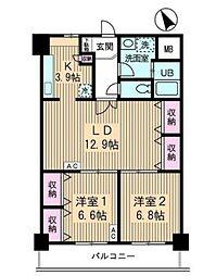 JR山手線 高田馬場駅 徒歩10分の賃貸マンション 5階2LDKの間取り