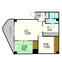 北海道札幌市厚別区厚別南5丁目の賃貸マンションの間取り