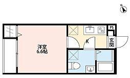 JR総武本線 千葉駅 徒歩17分の賃貸アパート 2階1Kの間取り