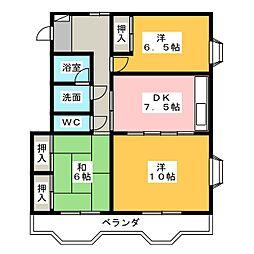 マローネ萩丘A B[1階]の間取り