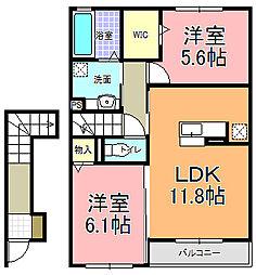 レジデンスMIYABI B[2階]の間取り