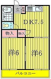 松丸ハイツ6号棟[2階]の間取り