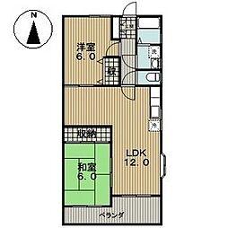 愛知県稲沢市稲葉5丁目の賃貸マンションの間取り