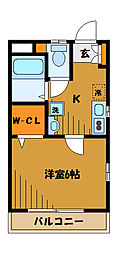 東京都国分寺市本町3丁目の賃貸アパートの間取り