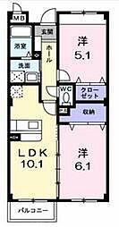 大阪府枚方市北中振1丁目の賃貸マンションの間取り