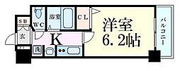 エステムコート新大阪VIエキスプレイス 6階1Kの間取り